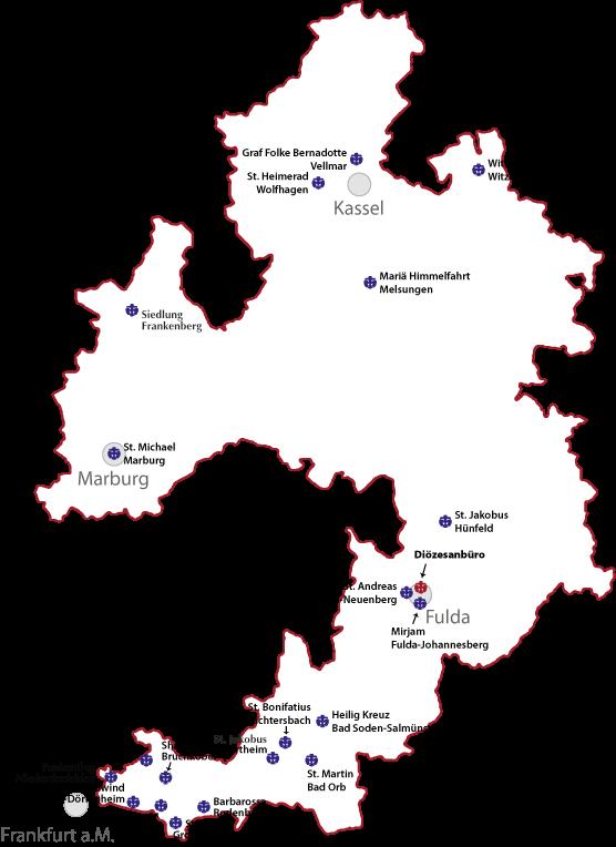 Karte der Stämme im Bistum Fulda
